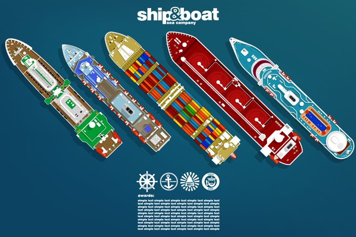 The image of the ships top view.