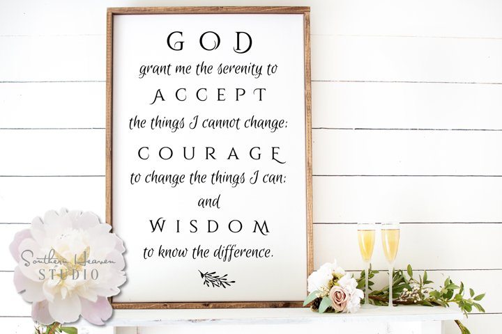 SERENITY PRAYER - SVG, PNG, DXF and EPS