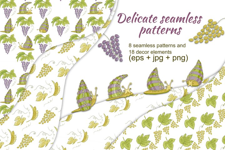Delicate seamless patterns with funny snails, grape, leaves