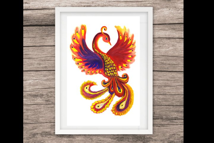 Art flaming mythical Phoenix bird