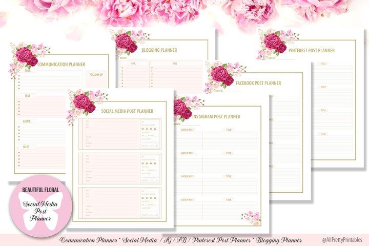 Beautiful Floral Digital Social Media Post Planner