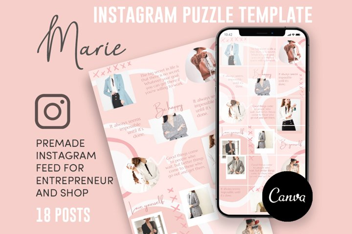 Marie, Pink Style Instagram Puzzle Feed, 18 Posts