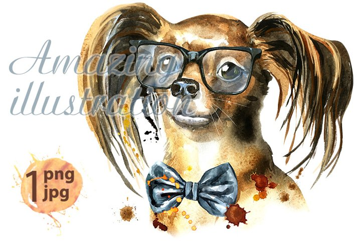 Watercolor portrait of long-haired toy terrier