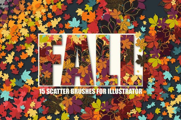 15 Fall Leaves Scatter Brushes for Adobe Illustrator