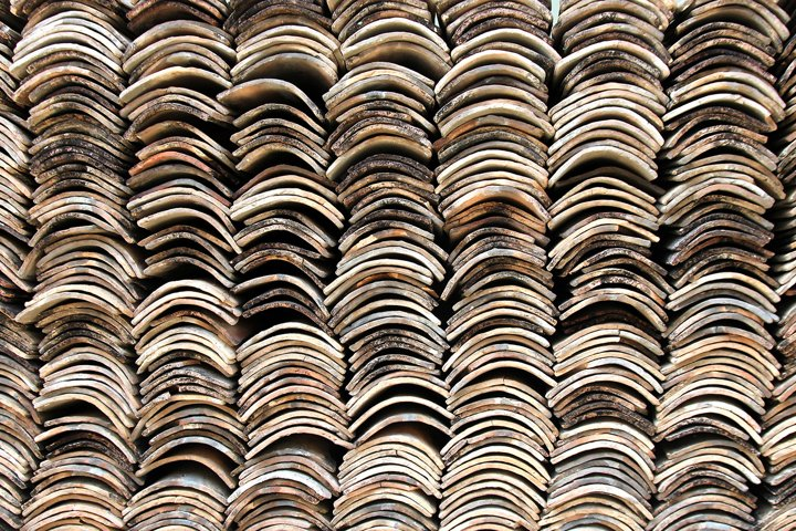 Stack of roofing tiles