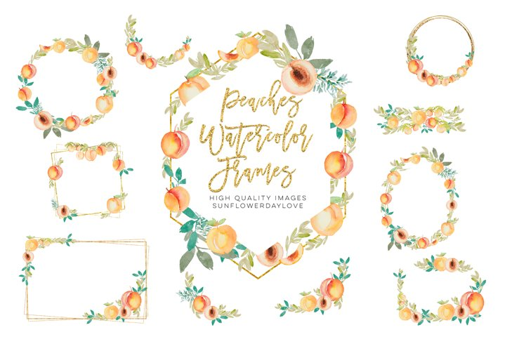 Peaches Watercolor Frames PNG, Peach flowers, sweet peaches