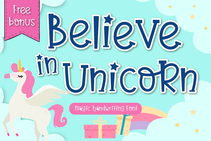 Believe in unicorn Handwriting- cute kid font Kawaii style!