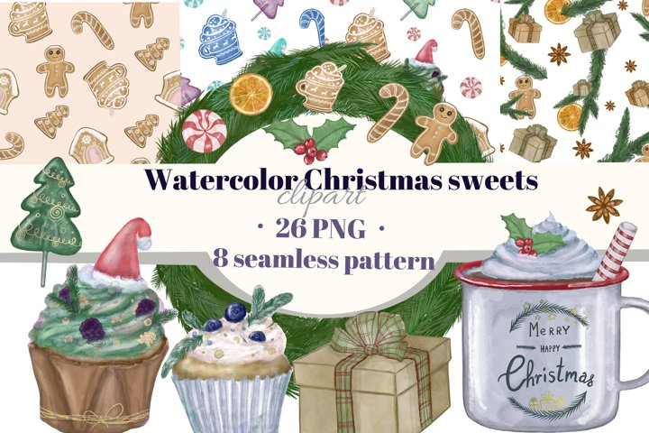 Christmas sweets watercolor clipart. Seamless patterns.