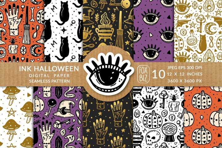 Halloween. Digital paper, seamless pattern.
