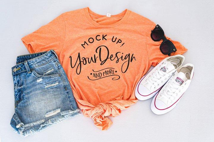Shirt Mockup - Bella Canvas 3413 Orange Triblend