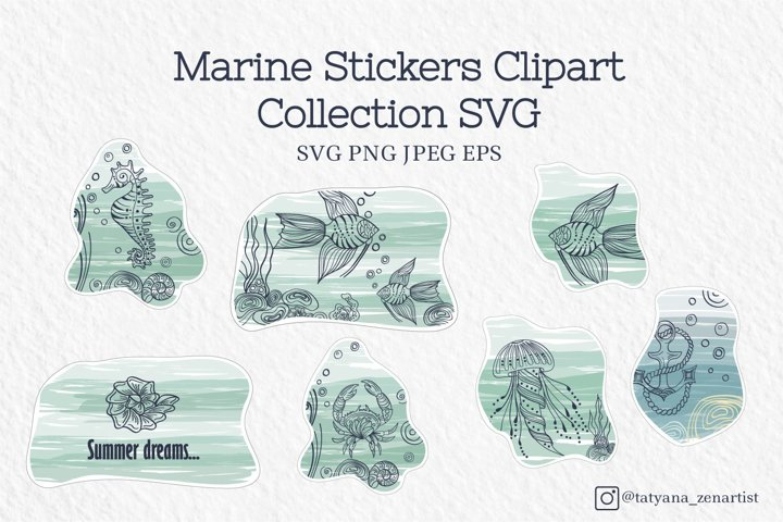 Marine stickers clipart collection SVG