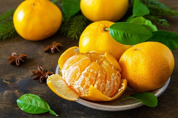 Fresh juicy fruits clementine mandarins.