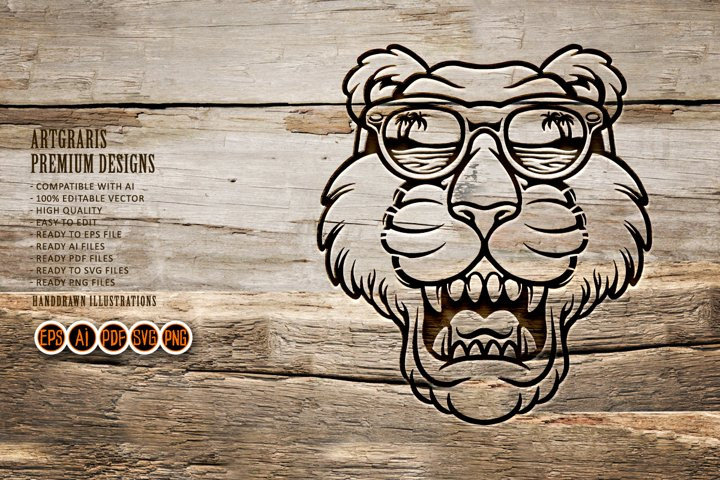 Cool tiger head with glasses Silhouette