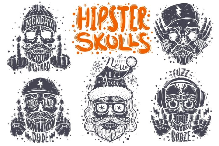 Hipster skulls collection
