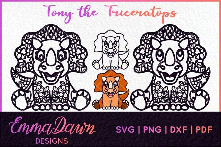 TONY THE TRICERATOPS SVG MANDALA / ZENTANGLE DINOSAUR DESIGN