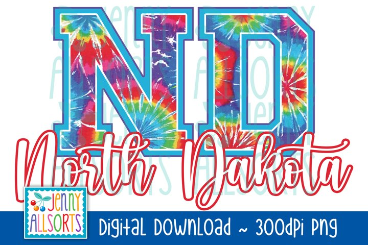 ND North Dakota Tie Dye Sublimation Design, US State Letters