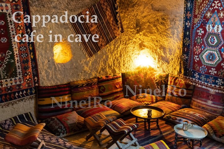 Cappadocia coffee house in cave. Vintage interior wall art
