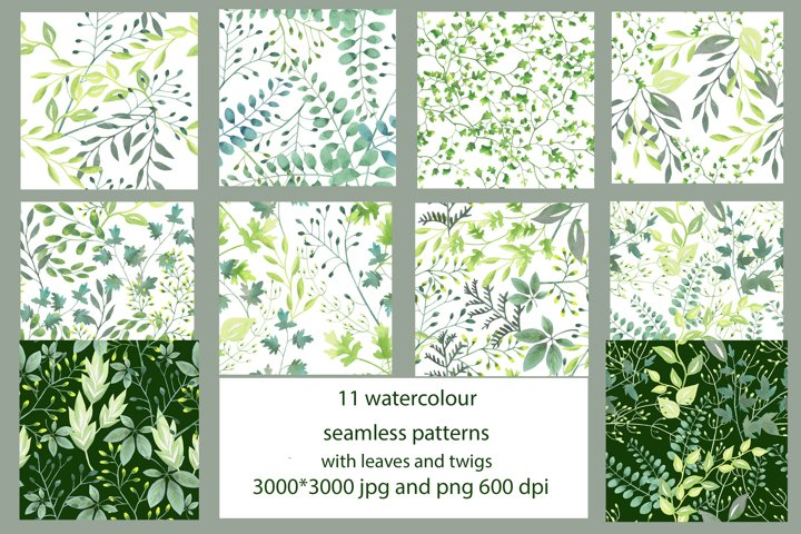 11 watercolor seamless patterns with leaves and twigs