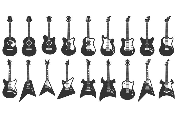 Black and white guitars. Acoustic strings music instruments,
