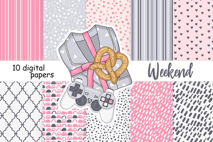 Weekend PATTERN Coffee Paper Cozy Sweet Home Scrapbook JPEG
