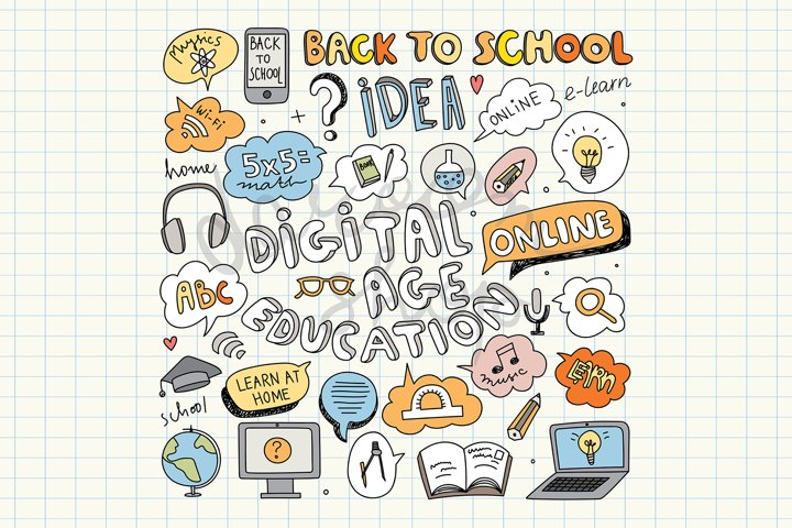 Digital Education Clipart, Back to School, Online Education