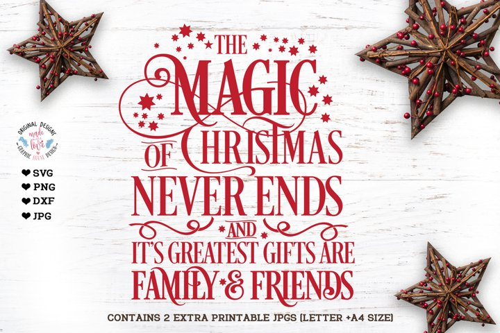 The Magic of Christmas never ends Cut File and Printable