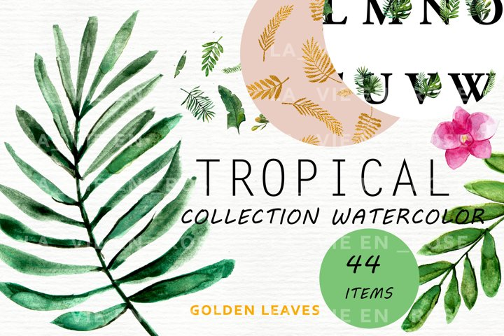 Watercolor clipart with tropical leaves.