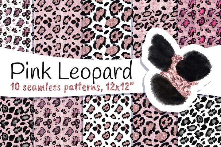 Leopard Spots Seamless Patterns Rose Gold Pink Glitter