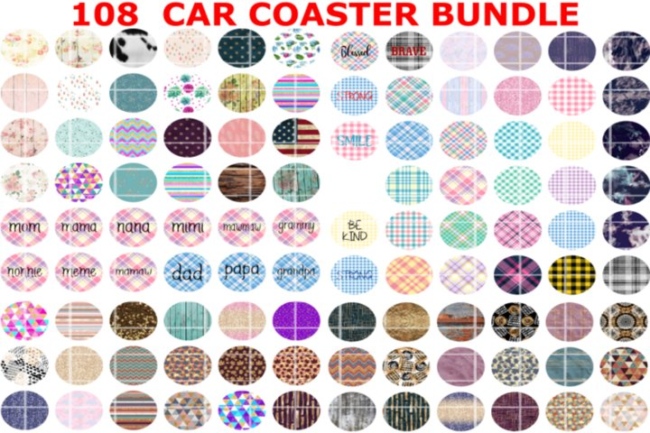 108 Car Coaster Bundle, PNG , Digital, Sublimation