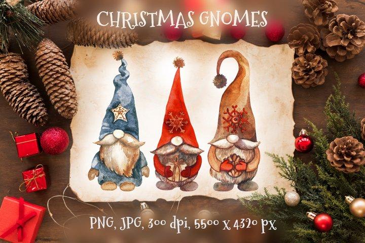 Christmas gnomes. Watercolor Clipart. PNG. JPG