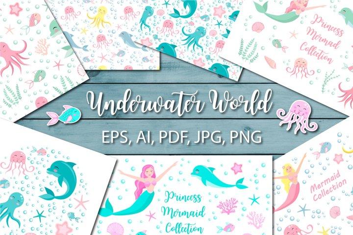 Cute set of mermaid princess and undersea world
