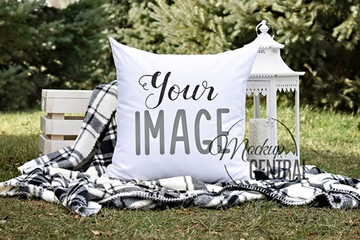 Outdoor Nature Mockup Square Pillow Photo, JPG