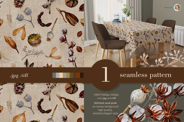 Fall seamless pattern, autumn floral elements , seed pods