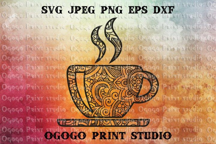 Teacup svg, Kitchen SVG, Zentangle SVG, Mandala svg