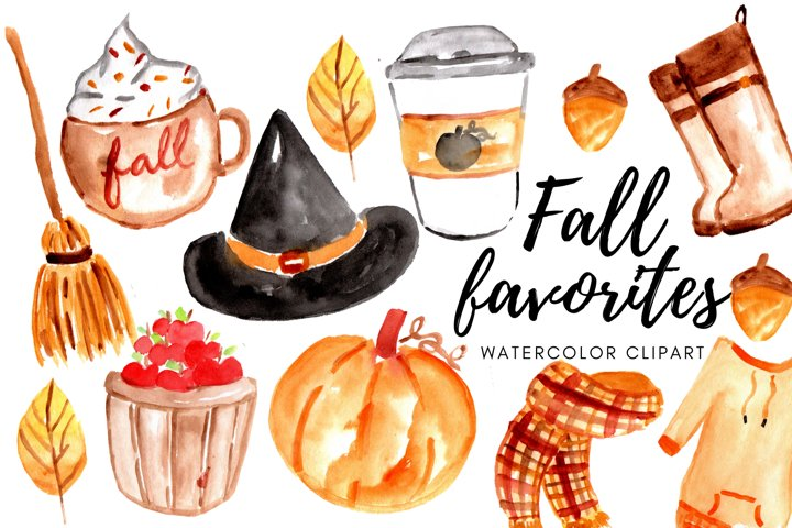 Watercolor fall autumn favorites clipart