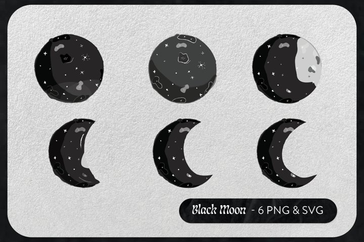 6 White Black Moon Stars Celestial |Planets Vector|PNG & SVG example 1