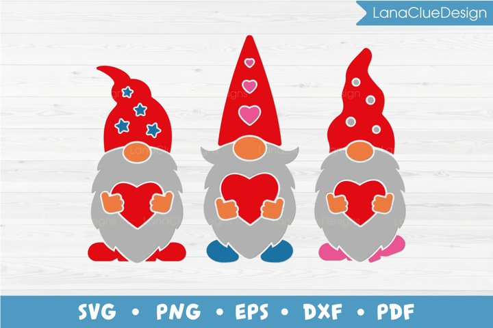 Three Gnomes with Hearts SVG - Valentines Day Gnomes