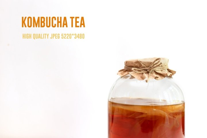 Homemade kombucha tea in glass jar