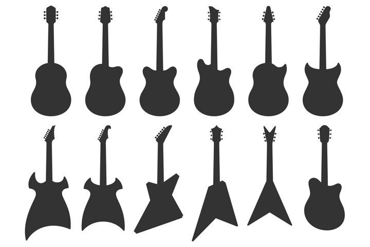 Guitar silhouette. Acoustic Jazz guitars, musical instrument