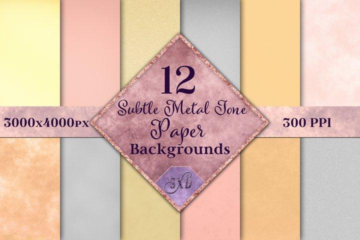 Subtle Metal Tone Paper Backgrounds - 12 Image Textures Set