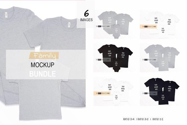 Family Tshirts Mockup Bundle| Bella Canvas 3001, 100B, 3001T