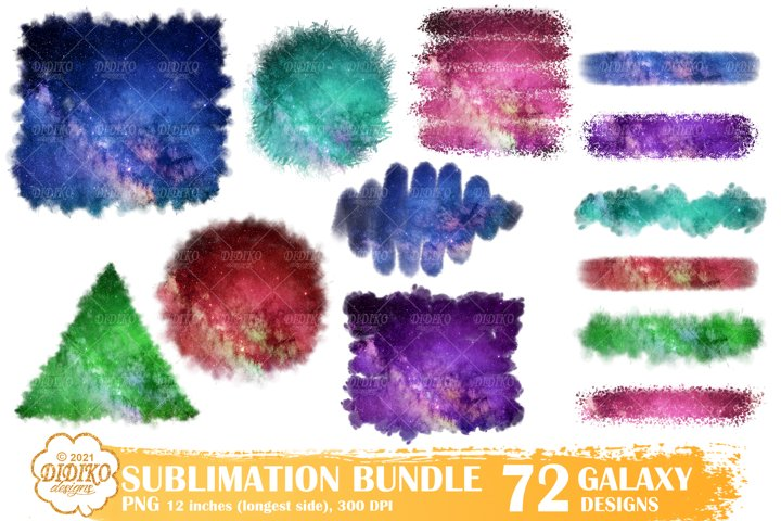 Sublimation Background Bundle, Brush Strokes, Galaxy Png