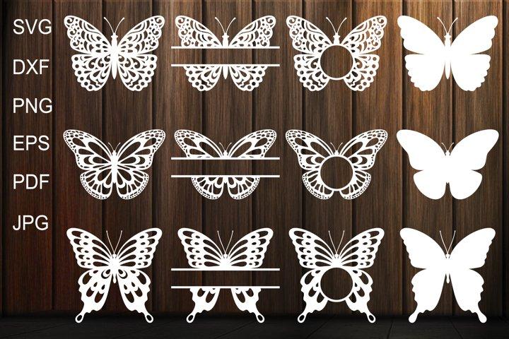 Butterfly SVG, Butterfly Monogram Frame, Butterfly Template