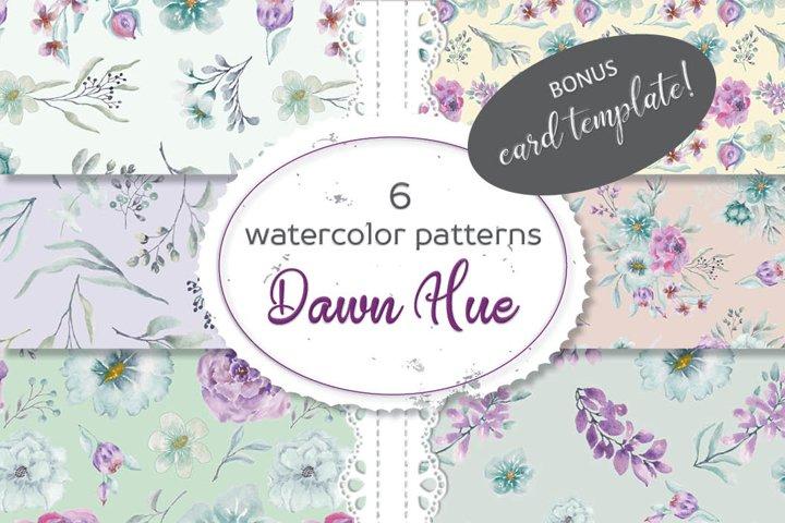 Set of 6 watercolor patterns - Dawn Hue