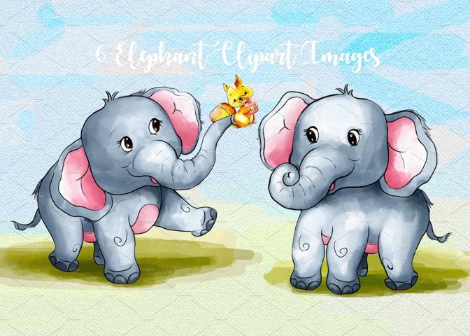 Watercolor Cute Elephant Cliparts by Whimseez
