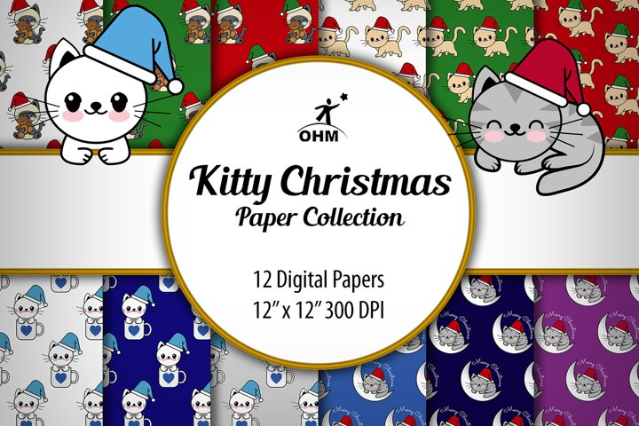 KITTY PAPER CHRISTMAS Collection | Digital Paper, Original