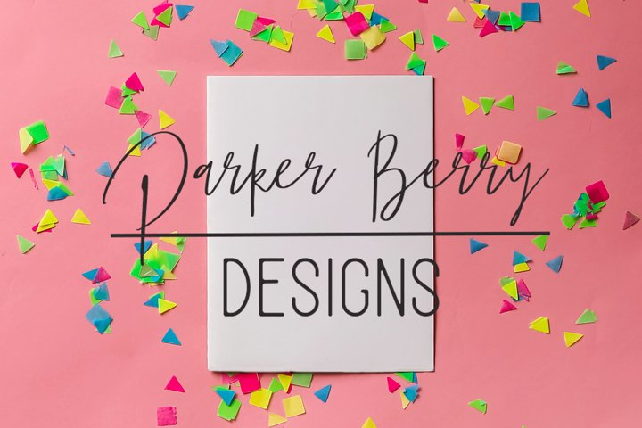 Blank White Card on pink on Neon confetti Mock up