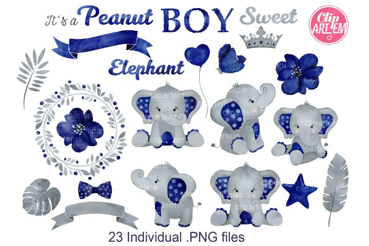 Watercolor Dark Blue Boy Elephant Bundle 23 PNGs, its a boy