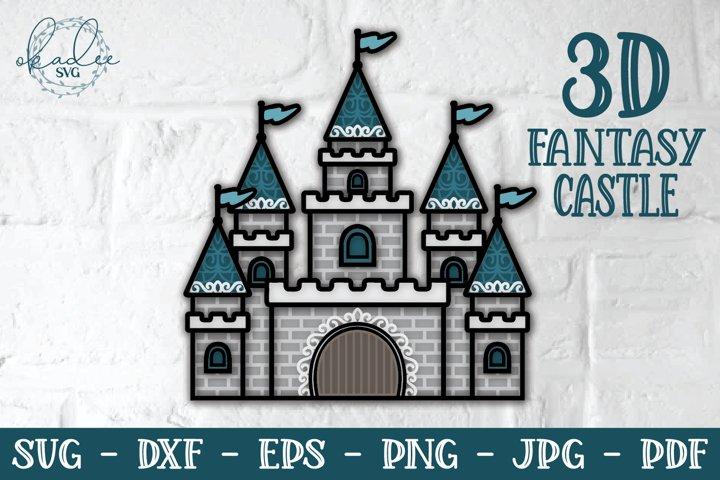 3D Fantasy Castle SVG, Castle Mandala, Layered Castle DXF