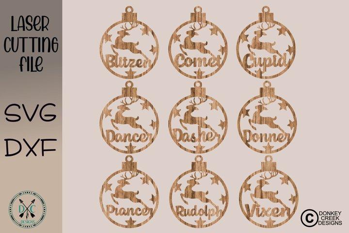 Laser Cutting File Reindeer Ornaments  Christmas Laser SVG